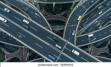Highway junction aerial view on a cloudy day