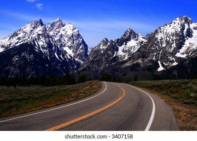 Highway leading to the Teton's, Grand Teton National Park, Wyoming