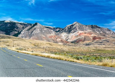 Highway leading up through the Bighorn Mountain Range and to Sheridan, Wyoming
