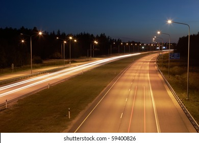 Highway with lights at night