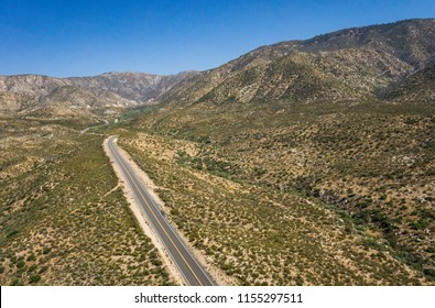Highway in the Mojave Desert wilderness of southern California near Los Angeles.
