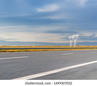 highway motion blur on gobi desert at dusk