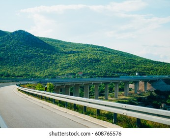 Highway. Motorway in Croatia. View of the car. The mountains and the horizon line at the background