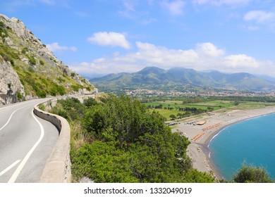 Highway near the Italian city of Maratea along the coast of the Tyrrhenian Sea overlooking the mountains and beaches