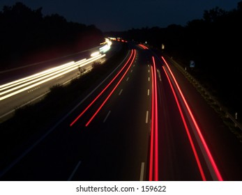 A highway at night.