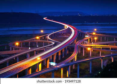 Highway in night with cars light in Taiwan