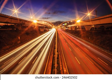 Highway in night with cars light in Taiwan for adv or others purpose use