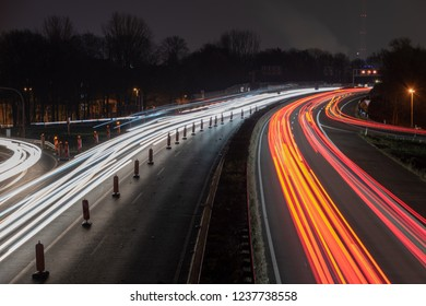 Highway at night with construction site and lights
