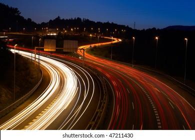 highway at night, long exposure