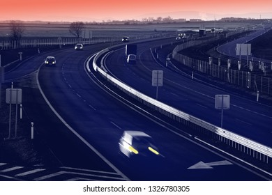 A highway at night. View from above.