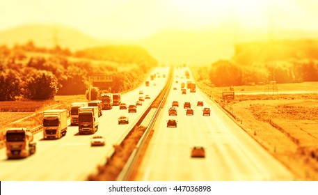 Highway on a hot day with - Tilt shift effect