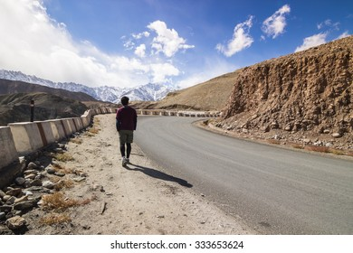Highway on mountain with blue sky , Leh Ladakh