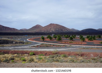 Highway on the south part of Lancerote island, Spain