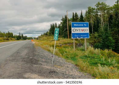 Highway one, the border between province Manitoba and Ontario, Canada