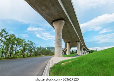 Highway overpass  with city background .