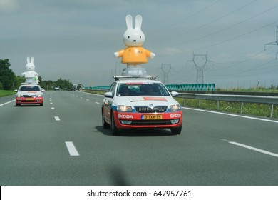 HIGHWAY TO PARIS, FRANCE - JULY 26, 2014: Nijntje (Miffy) vehicle. Advertising caravan on the road.