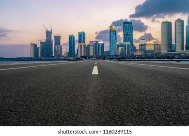 Highway pavement and skyline of Qingdao urban construction