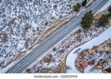 highway and picnic area in Rocky Mountains of Colorado - Poudre Canyon  in winter scenery, aerial perspective
