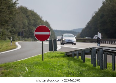 highway resting place no entry sign
