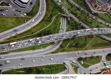 Highway road from air, Istanbul, Turkey