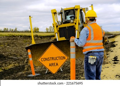 Highway Road construction worker