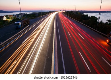 highway road in the dark with trafic lights