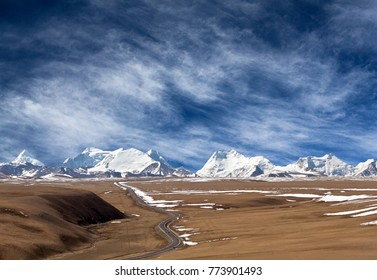 Highway road and Himalaya mountan landscape in Ngari Prefecture, Tibet autonomous region of China