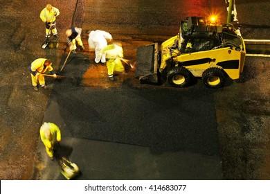 highway road maintenance at night