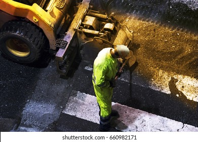 highway road maintenance at night