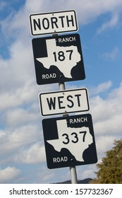 A highway road sign near Bandera in Texas, USA