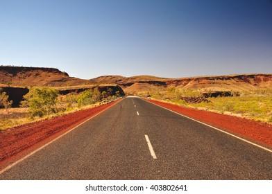 Highway roads near Karijini National Park in Western Australia