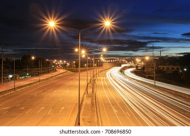 Highway roads in twilight sky of concept of traffic or transport business.