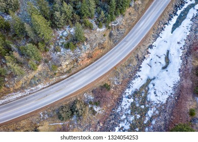 highway in Rocky Mountains of Colorado - Poudre Canyon  in winter scenery, aerial perspective