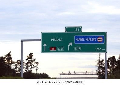 Highway sign with directions to Prague city in Czech Republic
