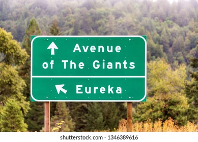Highway sign for Eureka and the Avenue of The Giants near Humboldt Redwoods State Park in California