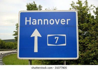 Highway sign to Hannover (english: Hanover), Germany