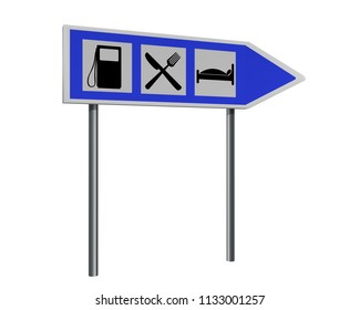 Highway sign with instructions for gas station, inn and hotel. 3d rendering