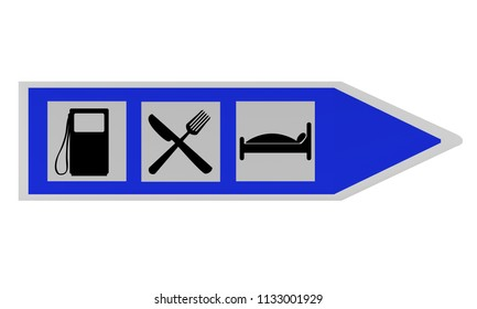 Highway sign with instructions for gas station, inn and hotel. 2d rendering