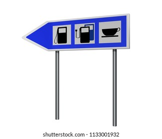 Highway sign with instructions for gas station, charging station for electric vehicles and cafe. 3d rendering