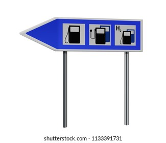 Highway sign with instructions for gas station, charging station for electric vehicles and water hole. 3d rendering