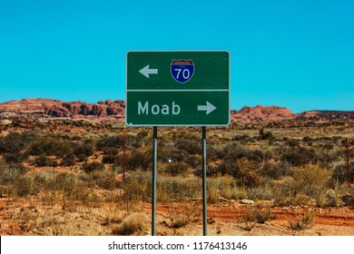 Highway Sign Outside Of Moab Utah