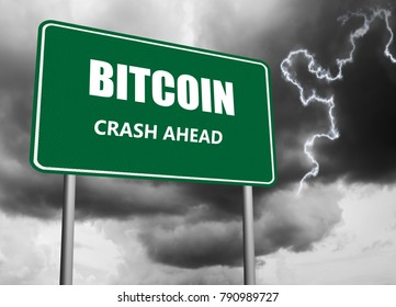 Highway sign with text bitcoin crash ahead on stormy background
