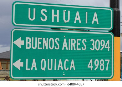 Highway sign in Ushuaia, Argentina