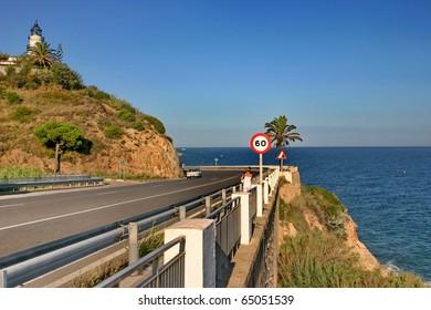 Highway in Spain on seashore