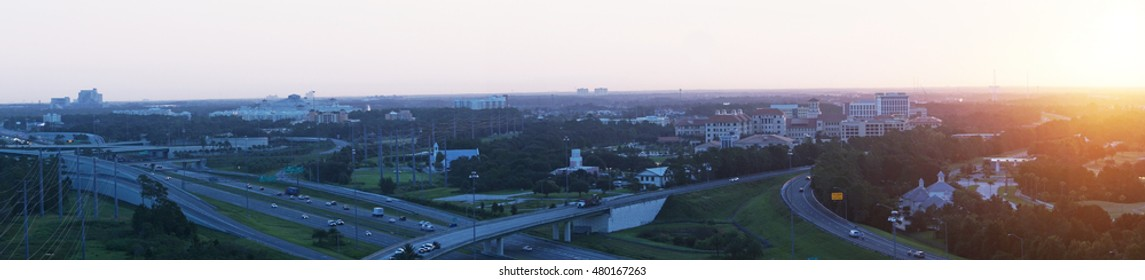 Highway system  in the morning/Flying over Orlando/Aerial view of a Florida urban area