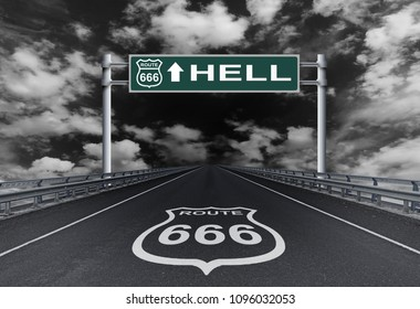 Highway with a text Hell on the road sign. Road to Hell