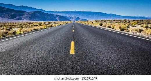 Highway through the Alabama Hills of California