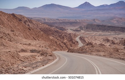 Highway through the Andes Mountains in Chile near the border with Argentina