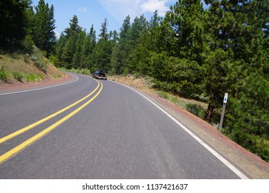 Highway through conifer forest of the High Desert near John Day,Oregon