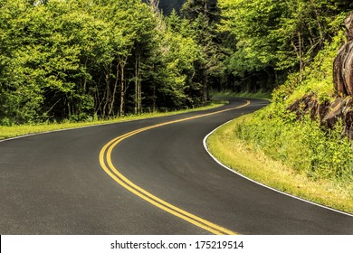 The highway through the natural forest of the Great Smoky Mountains National Park